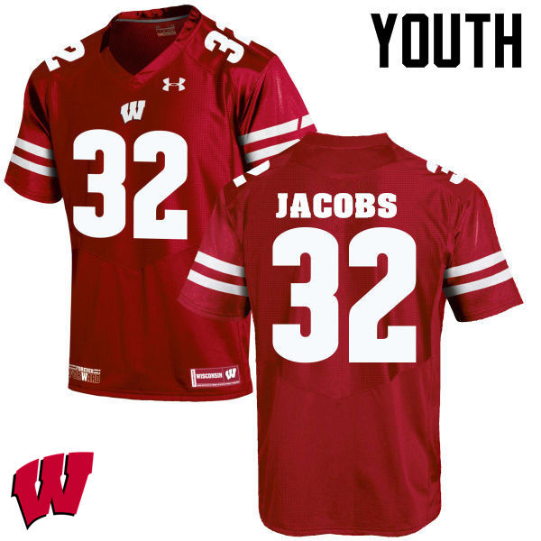 Youth Wisconsin Badgers #32 Leon Jacobs College Football Jerseys-Red