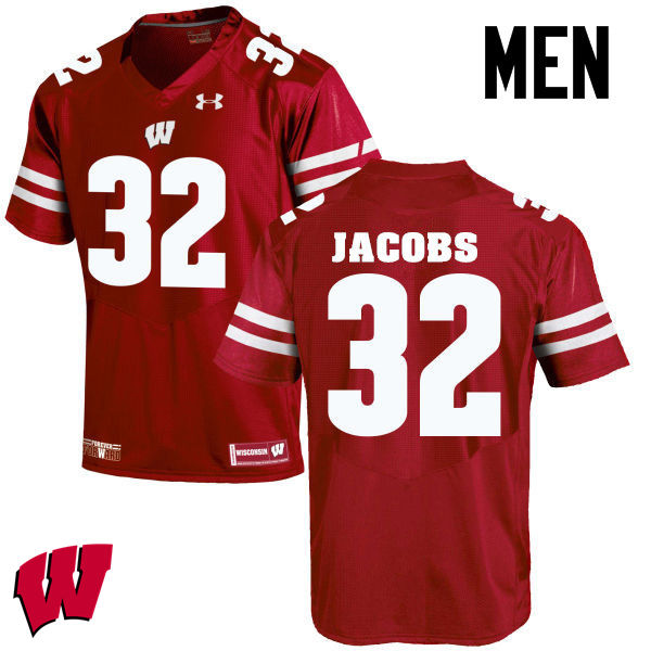 Men Wisconsin Badgers #32 Leon Jacobs College Football Jerseys-Red