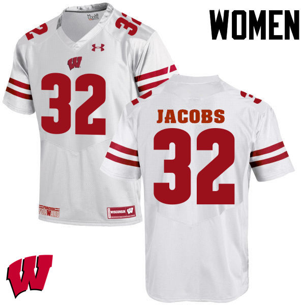 Women Wisconsin Badgers #32 Leon Jacobs College Football Jerseys-White