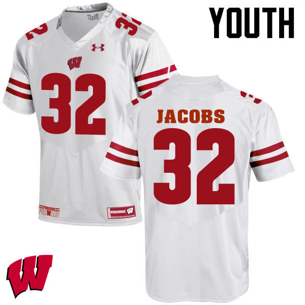 Youth Wisconsin Badgers #32 Leon Jacobs College Football Jerseys-White