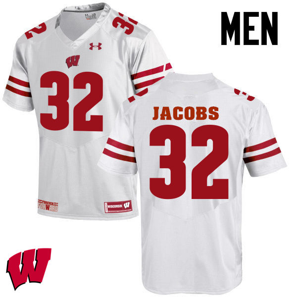 Men Wisconsin Badgers #32 Leon Jacobs College Football Jerseys-White