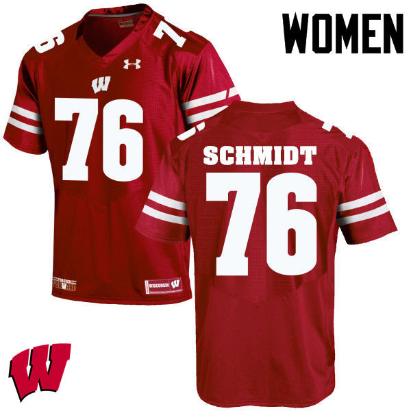 Women Wisconsin Badgers #76 Logan Schmidt College Football Jerseys-Red