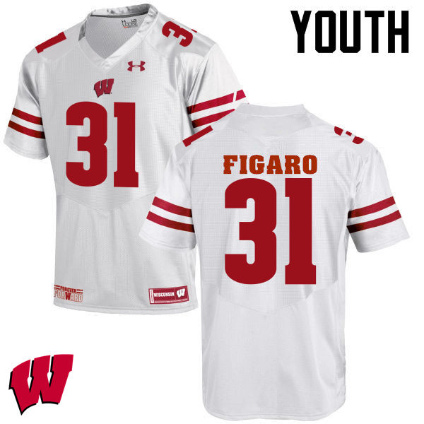 Youth Wisconsin Badgers #31 Lubern Figaro College Football Jerseys-White