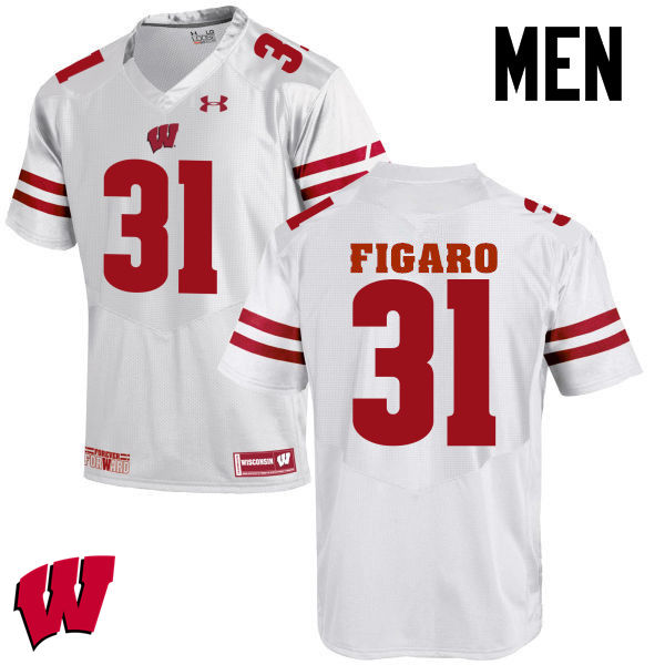 Men Wisconsin Badgers #31 Lubern Figaro College Football Jerseys-White