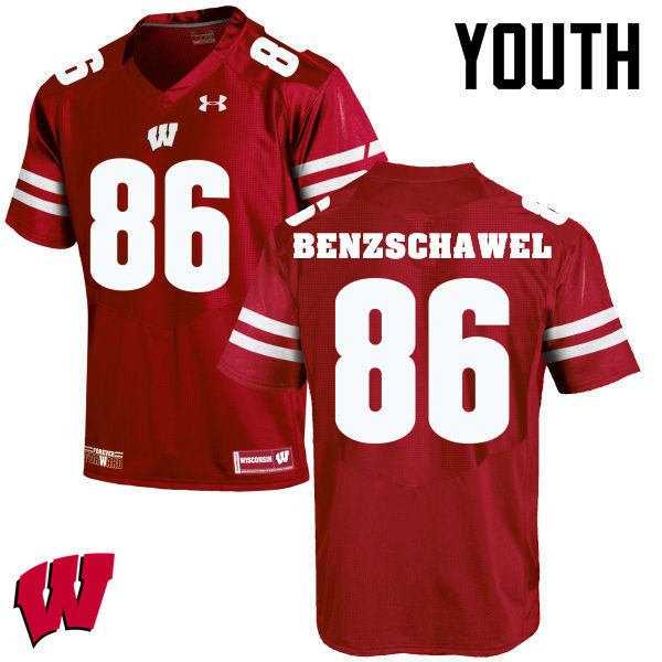 Youth Wisconsin Badgers #90 Luke Benzschawel College Football Jerseys-Red