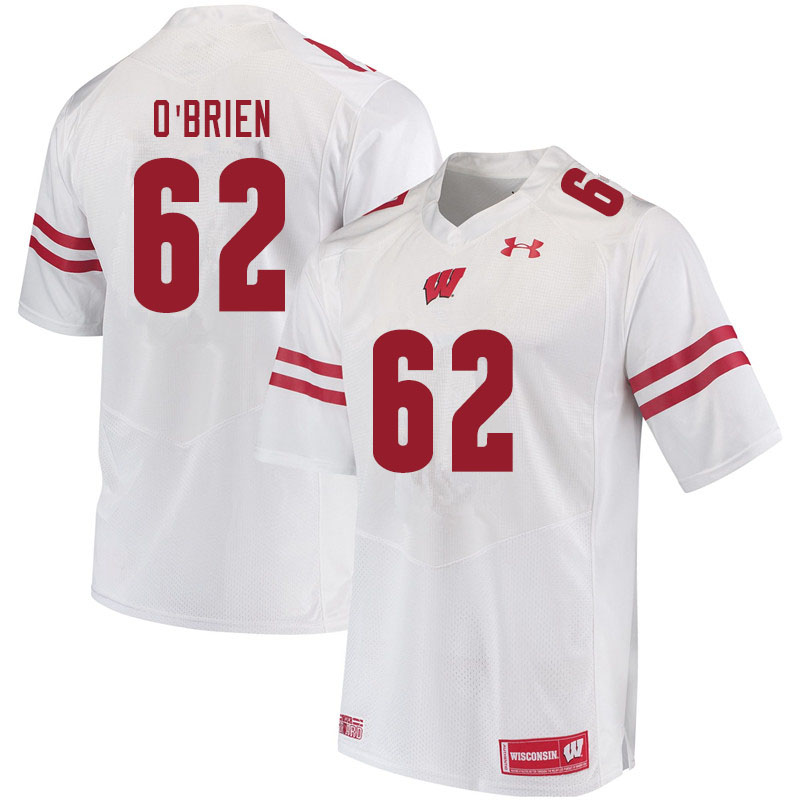 Men #62 Logan O'Brien Wisconsin Badgers College Football Jerseys Sale-White