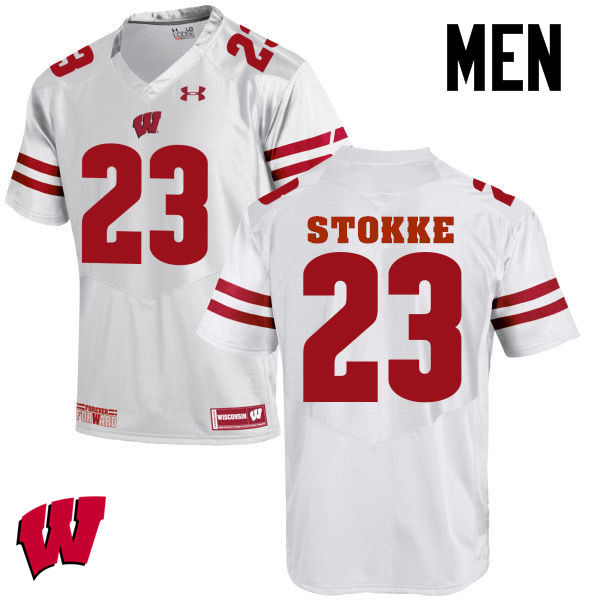 Men Wisconsin Badgers #23 Mason Stokke College Football Jerseys-White
