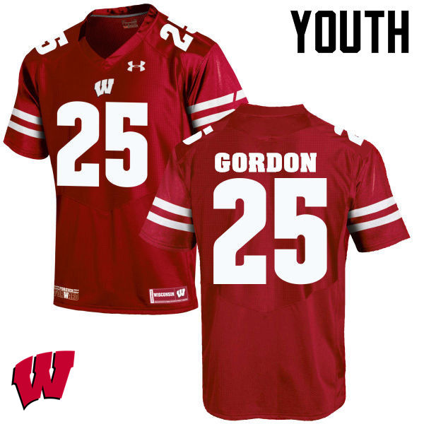 Youth Wisconsin Badgers #25 Melvin Gordon College Football Jerseys-Red