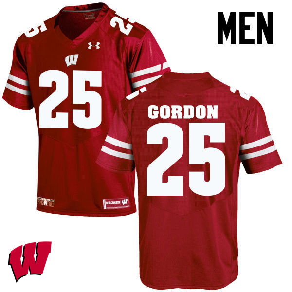 Men Wisconsin Badgers #25 Melvin Gordon College Football Jerseys-Red
