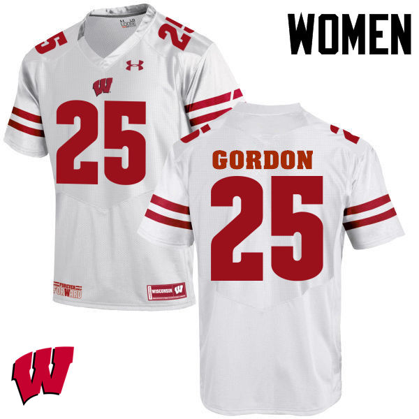 Women Wisconsin Badgers #25 Melvin Gordon College Football Jerseys-White