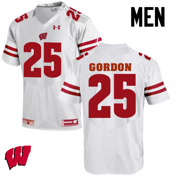 Men Wisconsin Badgers #25 Melvin Gordon College Football Jerseys-White