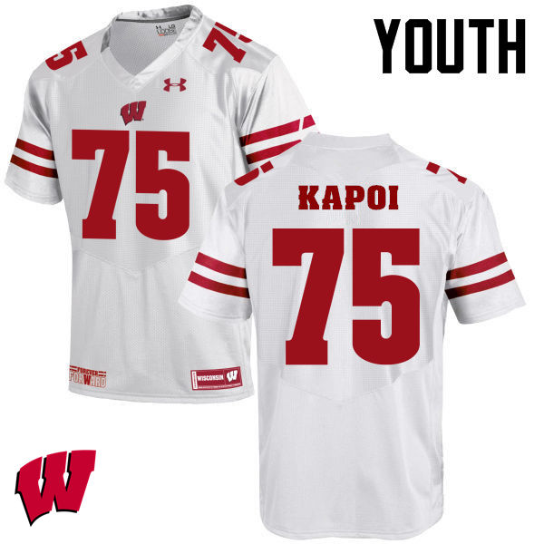 Youth Winsconsin Badgers #75 Micah Kapoi College Football Jerseys-White