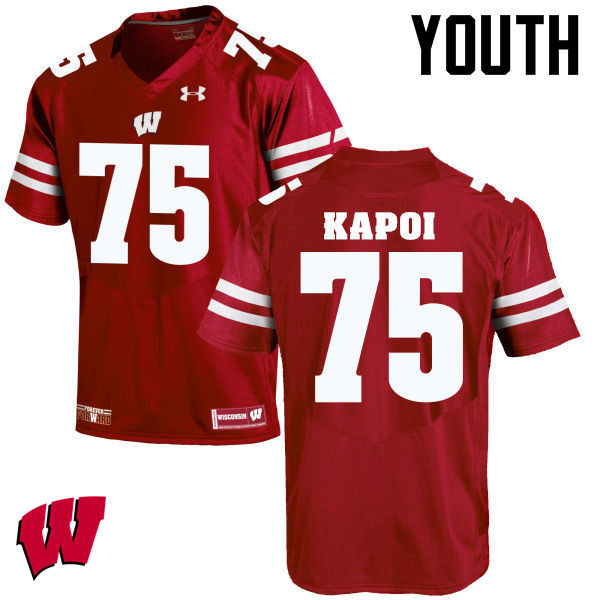 Youth Wisconsin Badgers #75 Micha Kapoi College Football Jerseys-Red