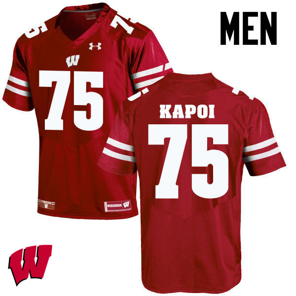 Men Wisconsin Badgers #75 Micha Kapoi College Football Jerseys-Red