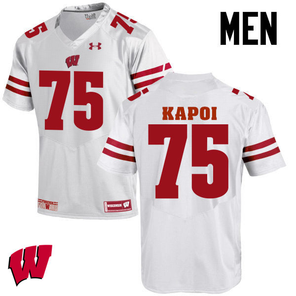 Men Wisconsin Badgers #75 Micha Kapoi College Football Jerseys-White