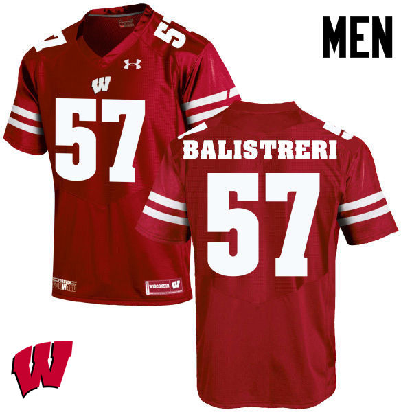 Men Winsconsin Badgers #57 Michael Balistreri College Football Jerseys-Red