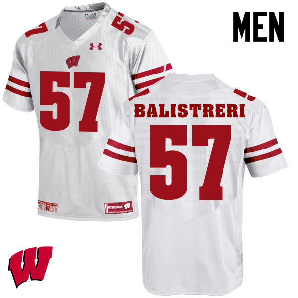 Men Winsconsin Badgers #57 Michael Balistreri College Football Jerseys-White