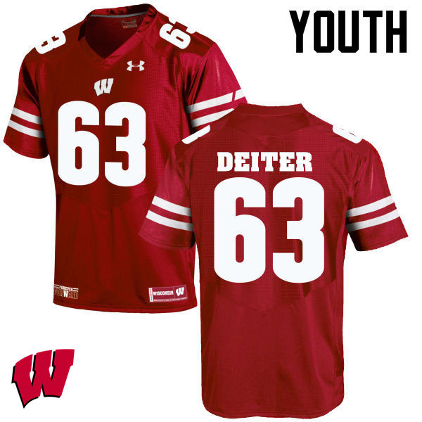 Youth Wisconsin Badgers #63 Michael Deiter College Football Jerseys-Red
