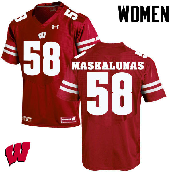 Women Wisconsin Badgers #58 Mike Maskalunas College Football Jerseys-Red
