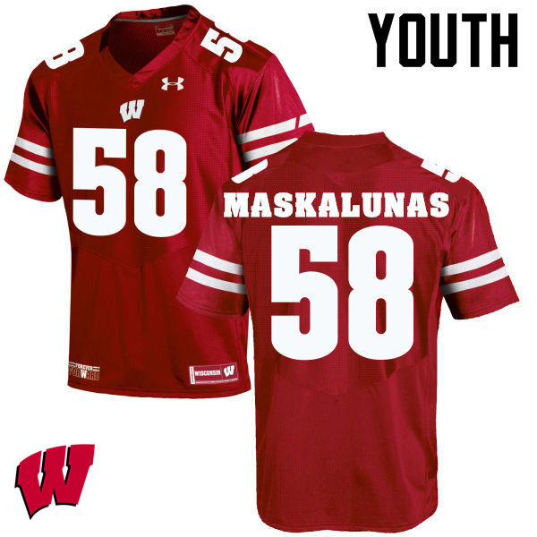 Youth Wisconsin Badgers #58 Mike Maskalunas College Football Jerseys-Red