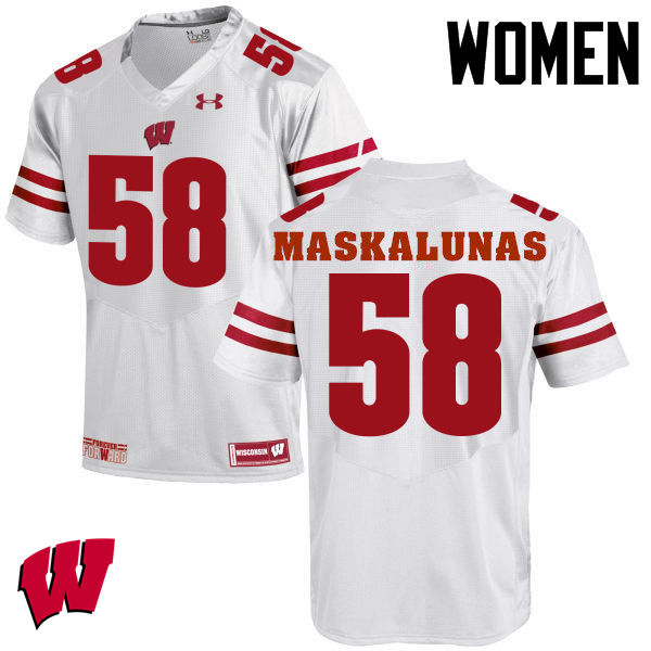 Women Wisconsin Badgers #58 Mike Maskalunas College Football Jerseys-White