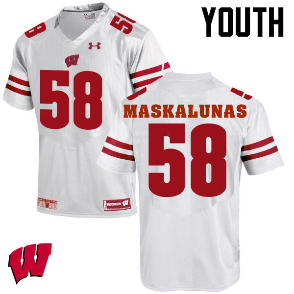 Youth Wisconsin Badgers #58 Mike Maskalunas College Football Jerseys-White
