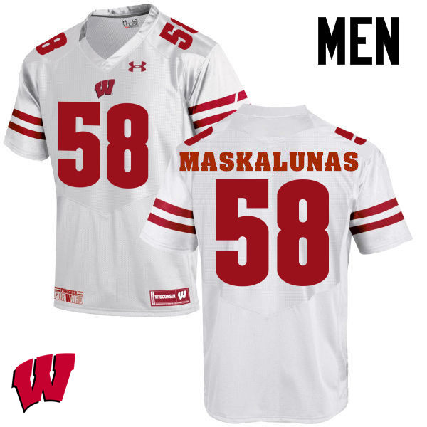 Men Wisconsin Badgers #58 Mike Maskalunas College Football Jerseys-White