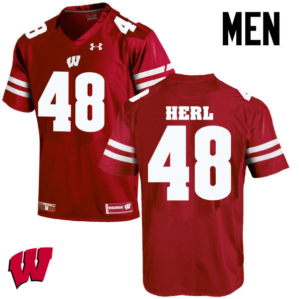 Men Wisconsin Badgers #48 Mitchell Herl College Football Jerseys-Red