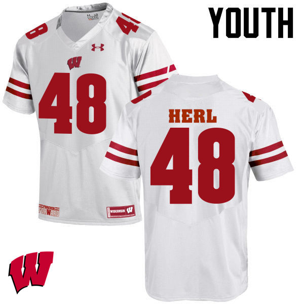 Youth Wisconsin Badgers #48 Mitchell Herl College Football Jerseys-White