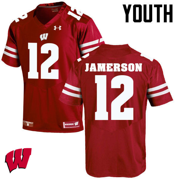 Youth Wisconsin Badgers #12 Natrell Jamerson College Football Jerseys-Red