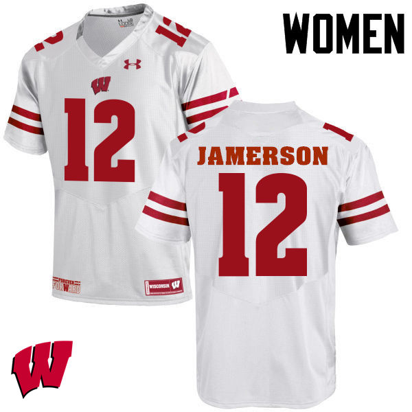 Women Wisconsin Badgers #12 Natrell Jamerson College Football Jerseys-White
