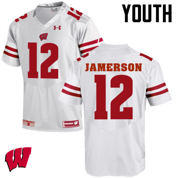 Youth Wisconsin Badgers #12 Natrell Jamerson College Football Jerseys-White