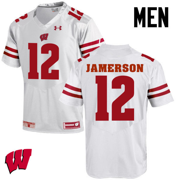 Men Wisconsin Badgers #12 Natrell Jamerson College Football Jerseys-White