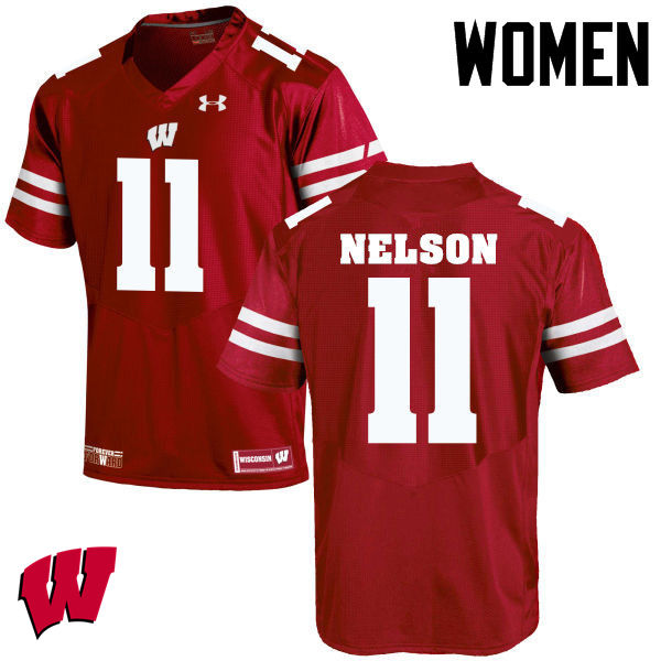 Women Wisconsin Badgers #11 Nick Nelson College Football Jerseys-Red