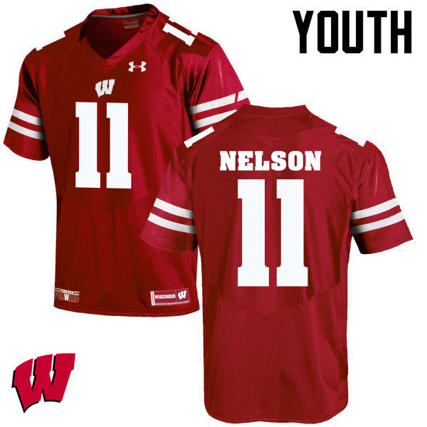Youth Wisconsin Badgers #11 Nick Nelson College Football Jerseys-Red