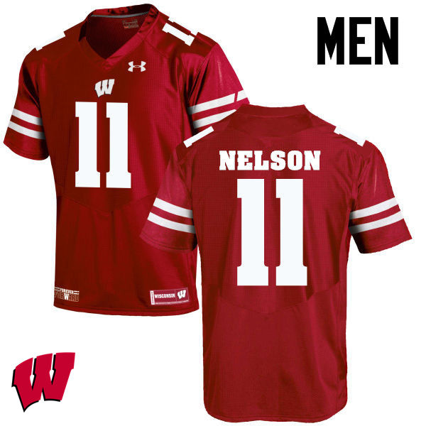 Men Wisconsin Badgers #11 Nick Nelson College Football Jerseys-Red