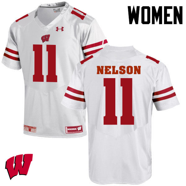 Women Wisconsin Badgers #11 Nick Nelson College Football Jerseys-White