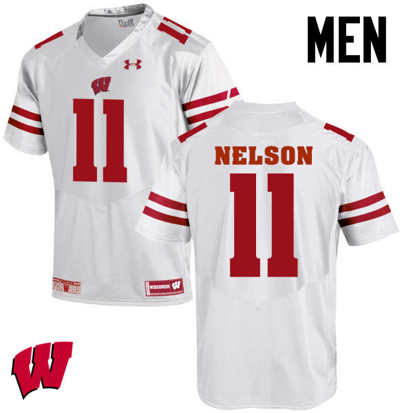 Men Wisconsin Badgers #11 Nick Nelson College Football Jerseys-White