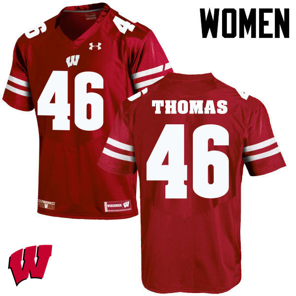 Women Winsconsin Badgers #46 Nick Thomas College Football Jerseys-Red