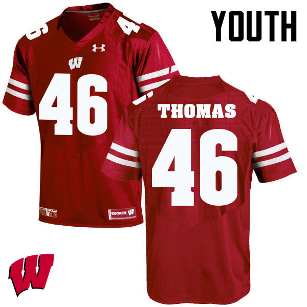 Youth Winsconsin Badgers #46 Nick Thomas College Football Jerseys-Red