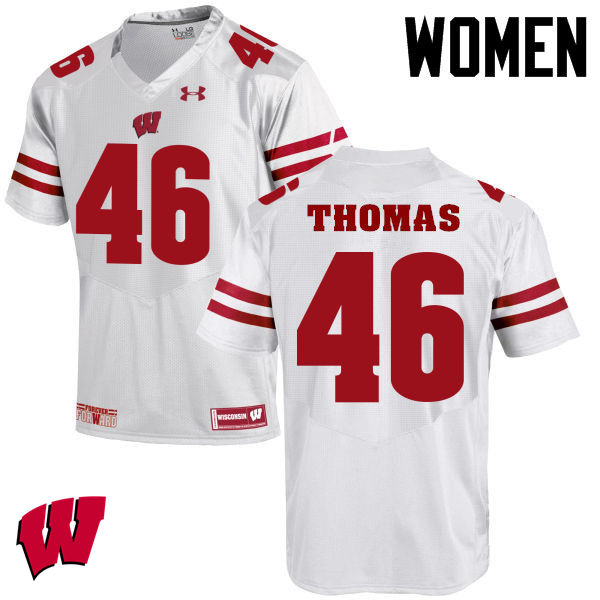 Women Winsconsin Badgers #46 Nick Thomas College Football Jerseys-White