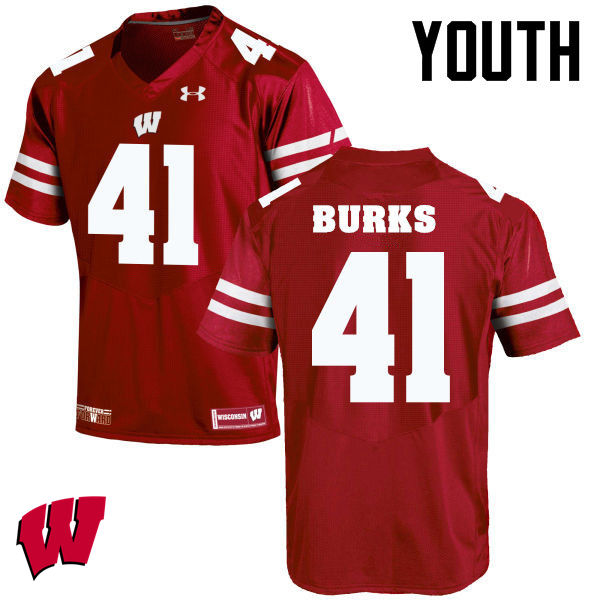 Youth Winsconsin Badgers #41 Noah Burks College Football Jerseys-Red