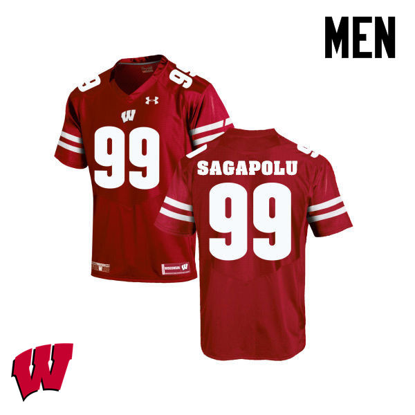 Men Wisconsin Badgers #65 Olive Sagapolu College Football Jerseys-Red