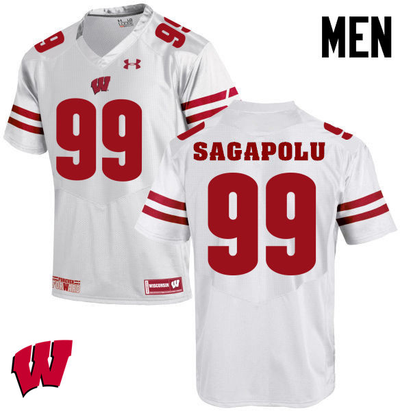Men Winsconsin Badgers #99 Olive Sagapolu College Football Jerseys-White