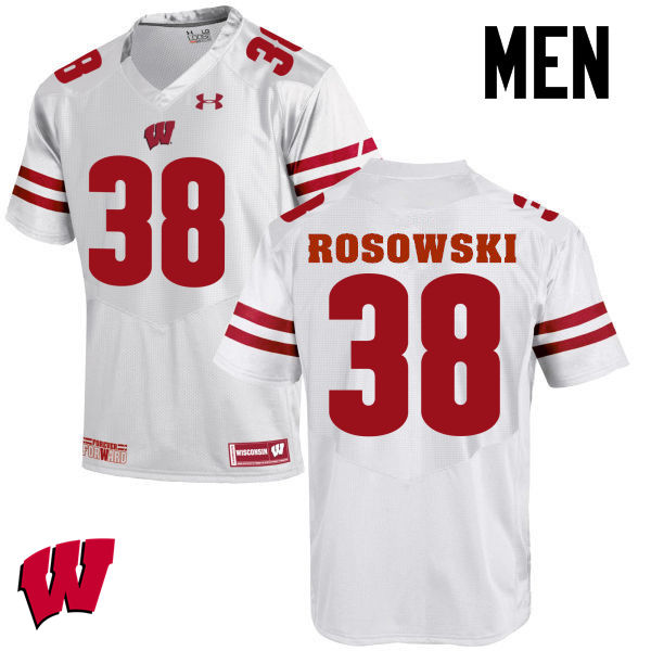 Men Wisconsin Badgers #38 P.J. Rosowski College Football Jerseys-White