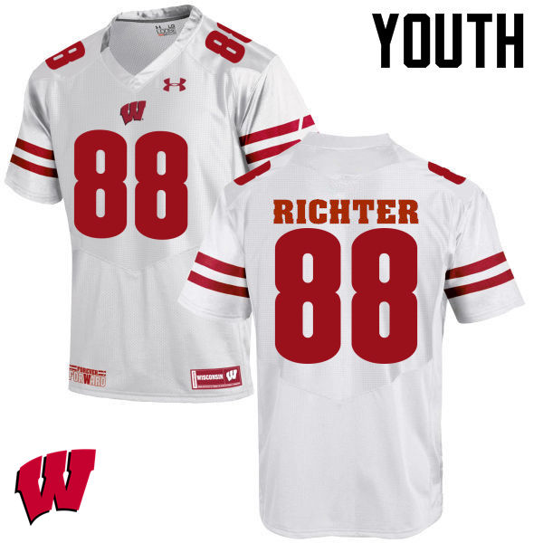 Youth Wisconsin Badgers #88 Pat Richter College Football Jerseys-White