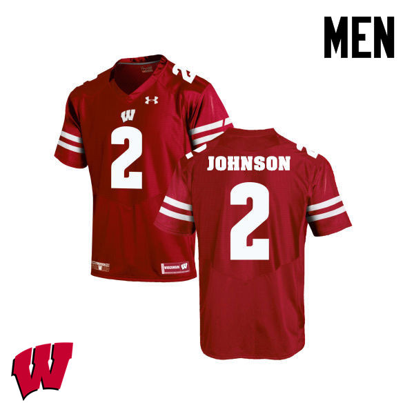 Men Winsconsin Badgers #2 Patrick Johnson College Football Jerseys-Red