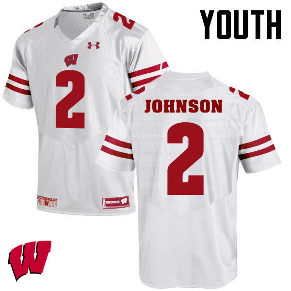 Youth Winsconsin Badgers #2 Patrick Johnson College Football Jerseys-White
