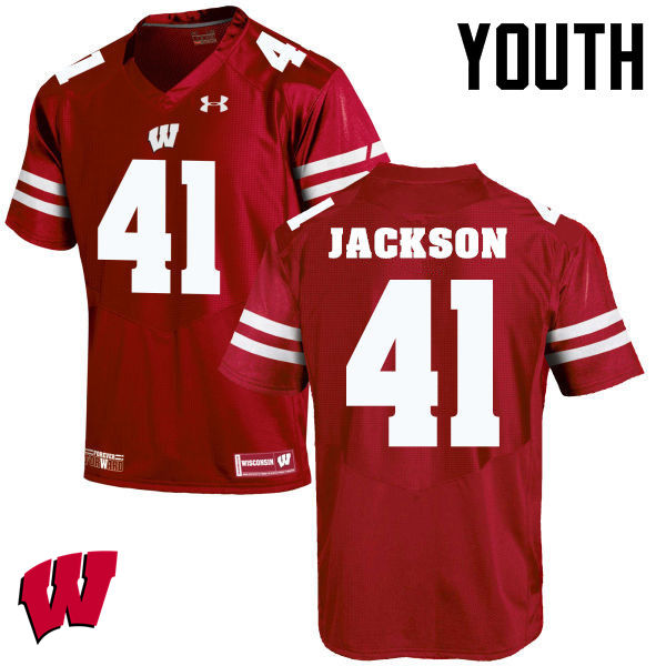 Youth Winsconsin Badgers #41 Paul Jackson College Football Jerseys-Red