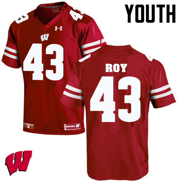 Youth Wisconsin Badgers #43 Peter Roy College Football Jerseys-Red